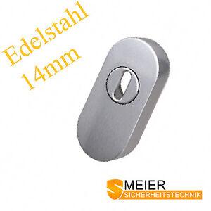 PZ Schutzrosette ZA 14mm / 11mm EDELSTAHL Schieberosette oval Schmalrahmen NEU