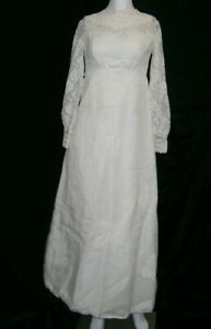 WEDDING GOWN DRESS IVORY OLD FASHION VINTAGE SIZE 2 EMPIRE PEARLS LACE SLEEVES