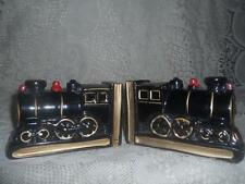 2 Vintage Hand-Painted Art Pottery RedWare RailRoad Train Steam Engine BookEnds