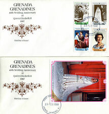 GRENADA GRENADINES 1988 QUEEN 40th WEDDING ANNIVERSARY PAIR OF FIRST DAY COVERS