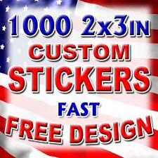 1000 2x3 Custom Printed Full Color Vinyl Sticker Product Label UV Coat Bulk Lot