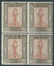 1924-29 LIBIA PITTORICA 15 CENT QUARTINA SENZA FILIGRANA MNH ** - RR13796-2