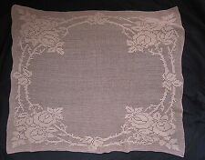 FILET LACE TABLE CLOTH MAT PLACE HOME ART DECOR #FLOWERS #COTTON #BEIGE 1960