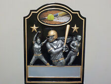 "great New Softball award, plaque, hangs or stands 7"" H x 5.5"" W, w/ engraving"