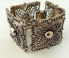 Chunky Bracelet Vintage CELEBRITY Filigree Antique Silver Tone Signed Small Size