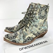 Free People Jeffrey Campbell Grove Ankle Boot Elmcroft Paisley Velvet Size 8M