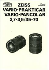 CARL ZEISS JENA Prospektblatt VARIO PRAKTICAR VARIO PANCOLAR 2,7-3,5/35-70 (Y288