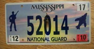 SINGLE MISSISSIPPI LICENSE PLATE - 52014  - NATIONAL GUARD