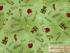 All Things Christmas Green Allover Toss Fabric by the 1/2 Yard  #26558