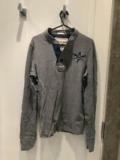 Men's Abercrombie & Fitch Grey & Navy Henley Long Sleeve Top Size Small