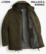 J.CREW Wallace & Barnes M-65 olive green coat jacket parka hood anorak military