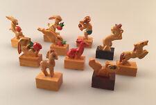 Vintage Lot of 10 - Assorted Hand Carved Animal Pencil Sharpeners, Unused!! Nice