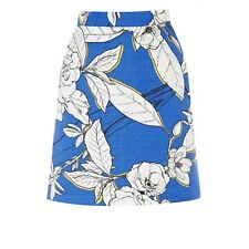 New Warehouse Blue White Floral Summer Flower A-Line Mini Skirt. Size 8. RRP £32