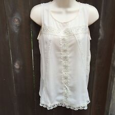 Womens Sz S Monteau Los Angeles Sheer Lace Top Blouse Shirt w/ Back Opening
