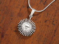 """Sterling Silver Sun Pendant and Necklace, Hand Cut Sun Coin, 3/4"""" in . ( # 2S )"""