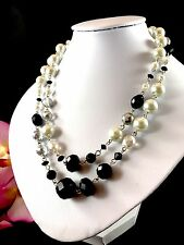 FAB WHITE HOUSE BLACK MARKET FAUX PEARL CRYSTAL AURORA BOREALIS BEAD NECKLACE