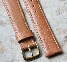 Classic tan Genuine Pigskin 18mm vintage watch band stitched & padded NOS 1960s