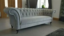 New Chelsea Chesterfield Modern Grey Fabric Velvet 3 2 Seater Sofa Suite