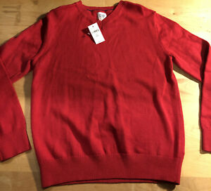 NEW With Tags Gap Kids Boys Red V-neck Long Sleeve Sweater Large size 10