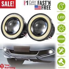 2pcs 2.5'' Car Head Lamp Projector LED Fog Light Blue COB Halo Angel Eye Ring