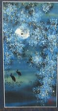 Japanese Watercolor Birds Under Moon Light Painting Signed