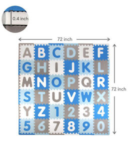 Foam Play Mat In Blue, White and Gray