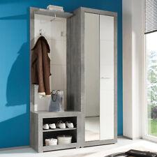 Garderobe Stone Kompaktgarderobe Set in Beton Optik grau und weiß Glanz 3-teilig