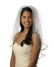 Bridal Wedding White Veil 2 Tier With Comb Crystal Rhinestone Edge Soft Swiss