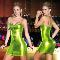 Hot Figure Hugging Lame Metallic PU Mini Dress with Zipper Front - Sexy Clubwear