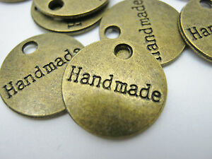 """10 Handmade Stamped Charms Label Tags 15mm (5/8"""") Bronze Handmade Crafts Labels"""