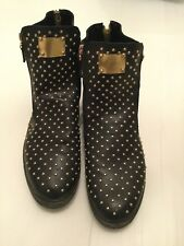 FootGift Leather Black And Gold Ankle Boots Size UK-11.5