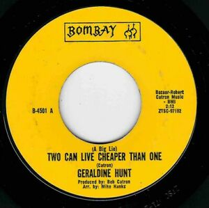 """NORTHERN SOUL - GERALDINE HUNT - TWO CAN LIVE CHEAPER THEN ONE - BOMBAY - """"HEAR"""""""
