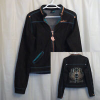 Miskeen Embellished Denim Jacket Women's Large L Black Full Zip Zip In Hood
