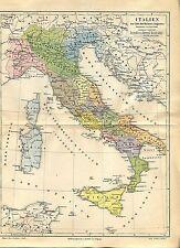 """Landkarte """"Italien zur Zeit des Kaisers Augustus"""" -  Von 1895    (J-BE2)"""