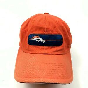 VINTAGE Nike Denver Broncos Hat Cap Strapback Orange Blue Dad Patch Embroidered