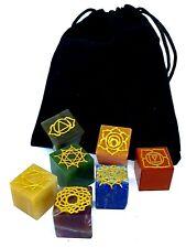 More details for 7 chakra crystal set carved cubed square gemstone engraved reiki plush pouch uk