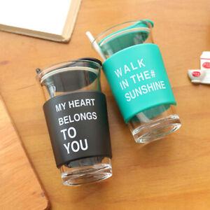 400ml Creative Anti Scalding Glass Cup Mug Tea Milk Coffee Mug With Spoon Lid