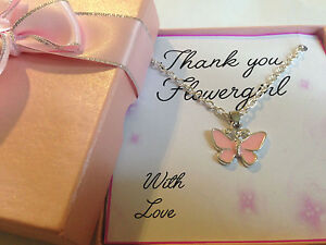 Wedding Thank You Gift for Bridesmaid Flower Girl Butterfly Necklace in Gift Box