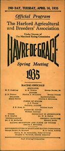 1935 Havre De Grace Maryland Horse Racing Program Closed 1950 2nd DAY Spring