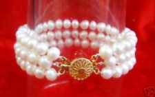 Fashion 3 Rows Natural 7-8mm White Freshwater Pearl Bracelet 7.5''