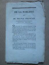 FREMIET : DE LA NOBLESSE et du peuple français. Dijon, 1815.