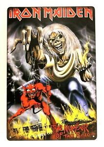 Iron Maiden in Concert Tour Tin Poster Sign Man Cave Vintage Ad Look Eddie 1