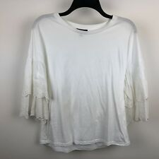 TOP SHOP WOMEN'S 1/2 SLEEVE LACE EMBELLISHED BLOUSE TOP WHITE SIZE 8