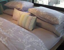 Yves Delorme Balade Lavender White Floral Polka Dots King Duvet Cover Cotton New
