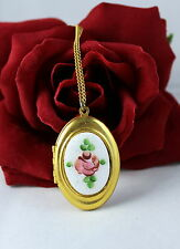 Vintage Guillloche Enamel FLower Locket  Necklace CAT RESCUE