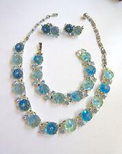 LISNER MOLDED BLUE GLASS FLOWERS RHINESTONES NECKLACE BRACELET EARRINGS