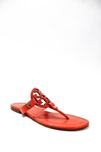 Tory Burch Womens Leather Logo Flip Flop Sandals Red Size 8.5