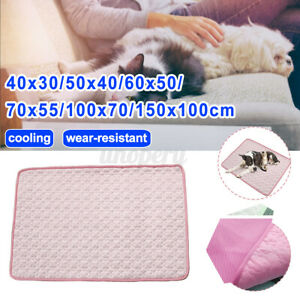 Summer Cooling Mat for Dogs Cat Washable Ice Silk Pet Self Pink wear resister