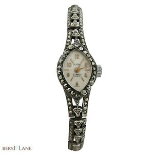 Vintage c1960 STERLING SILVER 'Dupont' MARCASITE Mechanical LADIES WATCH Working