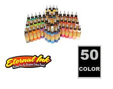 ETERNAL Pack of 50 Basic TATTOO INK Colors 1/2 oz Bottles Size 15 ml Silver Set